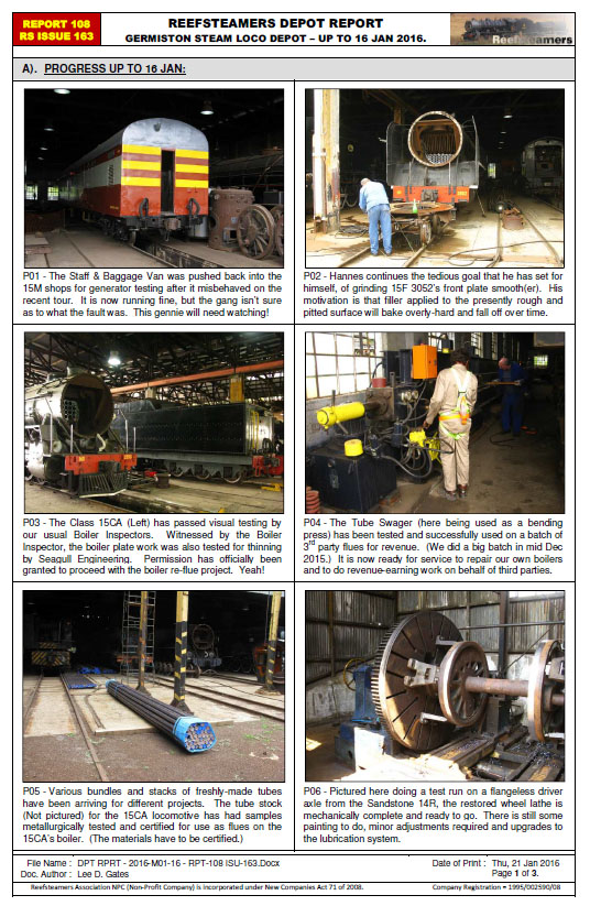 Reefsteamers depot report image